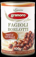 Bean in tin container of Fagioli Borlotti