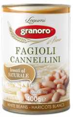 Bean in tin container of Fagioli cannellini