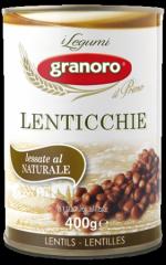 Bean in tin container of Lenticchie