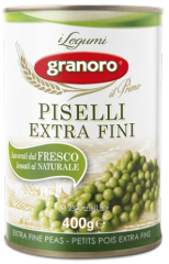 Bean in tin container of Piselli extra fini