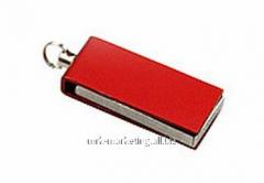 Диск USB  на 4GB выдвижной, красный, метал
