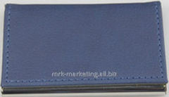 Card holder 94x61x7mm, PU+metal, metal t - blue