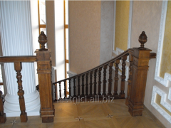 Ladder on bent bowstrings with carved rail-posts