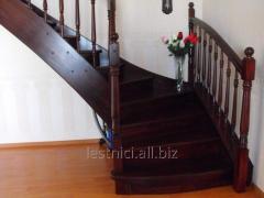 Ladder on bowstrings opened with zabezhny steps