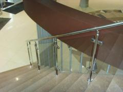 Ladder handrail with glass filling (knee glass)