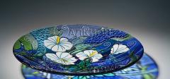 Стеклянная тарелка Белый Гибиску