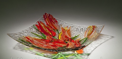 Glass plate Tulips