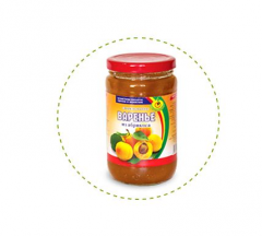 Jam from an apricot in a glass jar