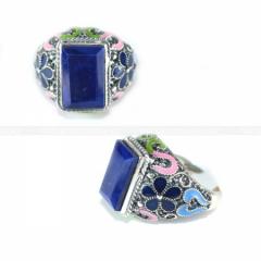 Кольцо Лазурит в серебре с эмалью 17000