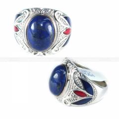 Кольцо Лазурит в серебре с эмалью 170010