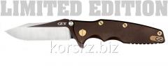 Складной нож ZT Rick Hinderer Brown/Gold