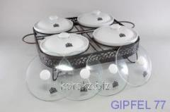 Ceramic food warmer with 4 stekl and 4 to ker