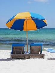 Beach umbrellas.