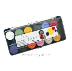 Funny face face painting in a palette of 12