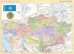 Physical map of Kazakhstan 1-25mln