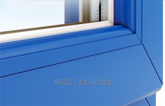Blue shtapik on a threefold double-glazed window