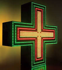 Green cross for a drugstore programmable