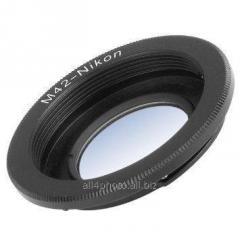 Transitional ring of M42 for Nikon with a lens