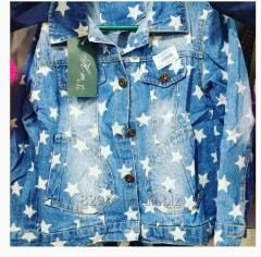 Jean jacket with stars for the girl till 7 years