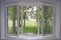 Metalplastic three-leaved window