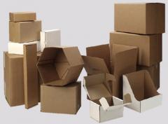 Boxes from the brown corrugated cardboard (3, 5