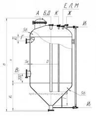 Аппарат вертикальный цельносварной с коническим днищем типа ВКЭ