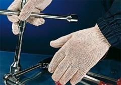 Gloves are knitted