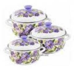 Set of conic kitchen ware Dahlias, Pans