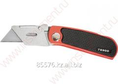 Knife, 18 mm, folding, replaceable trapezoid edge,