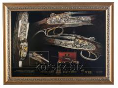 Картина с изображением оружия Охота в лесу