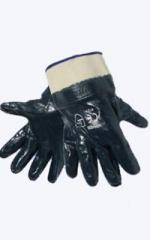 Перчатки нитриловый облив с твердым манжетом