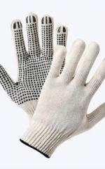 Knitted gloves with a dot polymeric covering, x /