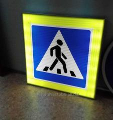 LED road sign crosswalk