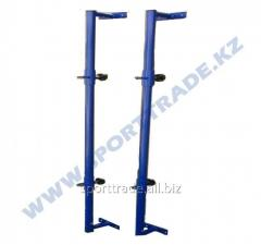 Racks for a volleyball net wall