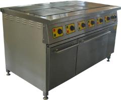 Плиты электрические серия ПЭП с жарочными шкафами предназначена для тепловой обработки полуфабрикатов в функциональных емкостях (варки, жарения, тушения и пассерования) на предприятиях общественного питания.