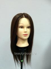 Head dummy brunette hair of 45-50 cm of 70% of