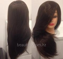 Head dummy brunette hair of 80 cm artificial hair