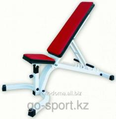 Bench for a press lying, with a changeable tilt