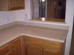 Kitchen table-top with a back wall
