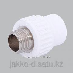 Адаптер ППР с нар.рез.  белый 20x1/2 Jakko