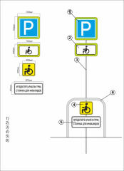 Sign a parking space for disabled people