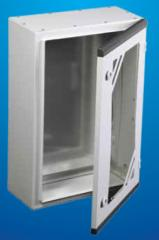 Case hinged with a glass door and with the