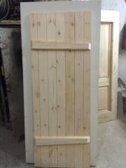 Doors from a pine for a bath