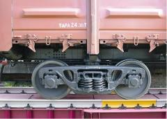 Railway truck scales for weighing in dynamics the