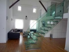 Steps and floors from glass