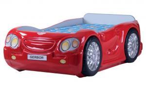 Кровать-машина с матрацем красная Leo