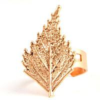 Кольцо лист березы Ester Bijoux розовое золото