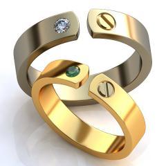 Обручальное кольцо RNG010020 Са?ина (Алтын 585) Фианит