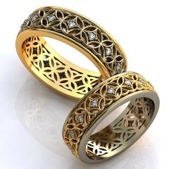 Обручальное кольцо RNG010040 Са?ина (Алтын 585) Фианит