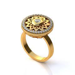 Кольцо АК 044 Са?ина (Алтын 585) Фианит